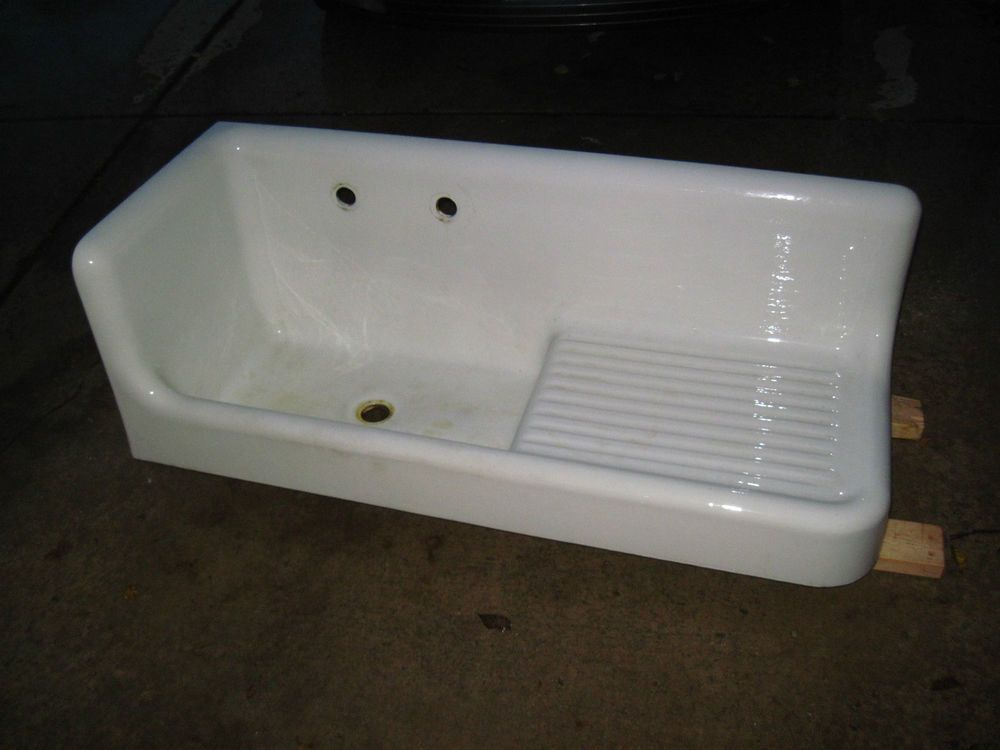 Antique Porcelain On Cast Iron Corner Drainboard Kitchen Sink STANDARD USA  1922