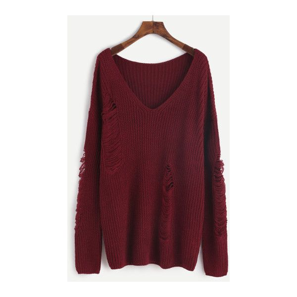 SheIn(sheinside) Burgundy V Neck Drop Shoulder Ripped Sweater ($24) ❤ liked on Polyvore featuring tops, sweaters, burgundy, loose pullover sweater, ripped sweater, red pullover sweater, distressed sweater and long sleeve pullover sweater