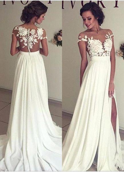 2017 Summer Bohemian Beach Wedding Dresses Chiffon Sheer Crew Neck Lace Liques High Spplit Hollow