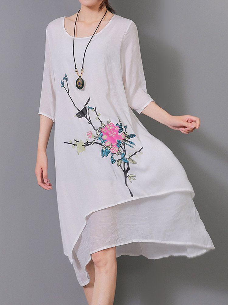 ada0afbf95c3b5 Elegant Women Painting Flower Printed High Low Linen Dress - Banggood Mobile