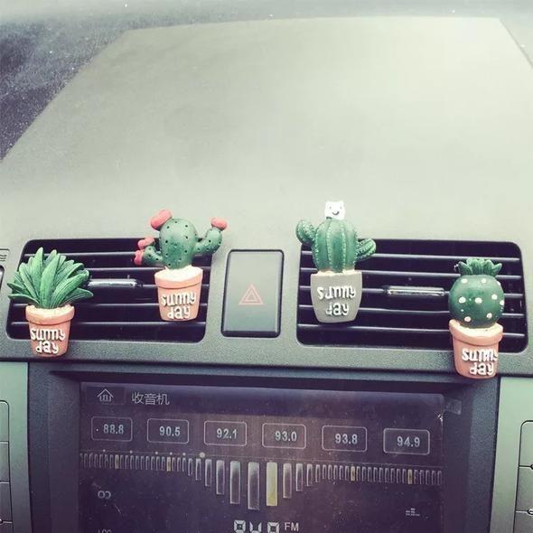 Cactus Car Air Vent Decoration - set of 4.