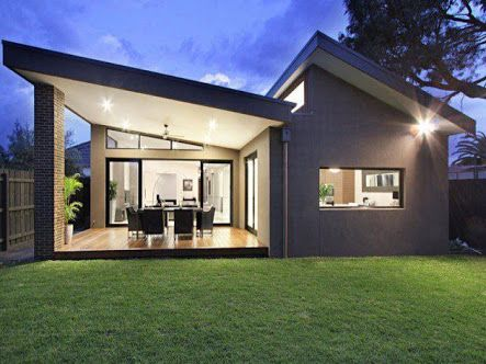 Image Result For Contemporary Flat Sloped Single Storey Houses Contemporary House Plans Modern Small House Design Modern House Plans