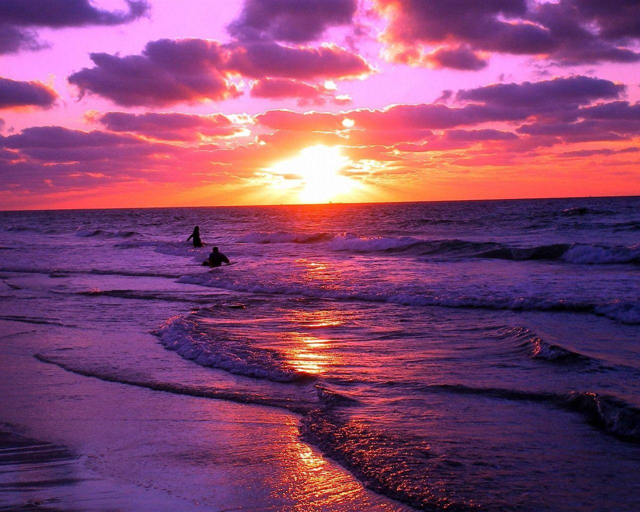 赤い夕日 ビーチの風景壁紙 1280x1024 壁紙ダウンロード 風景 風景の壁紙 壁紙ダウンロード