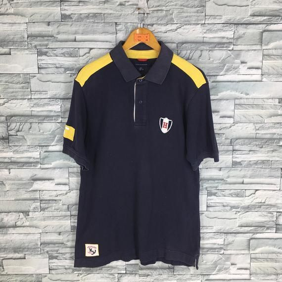 69f58be1 TOMMY HILFIGER Polo Shirt Large Vintage 90's Tommy Hilfiger Sailing Gear  Spell Out Tommy Jeans Inter