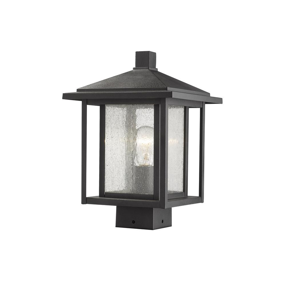 Filament Design Caspian 1 Light Outdoor Black Post Light With Clear Ribbed Glass Hd Te77131 Home Lighting Cool Floor Lamps Outdoor Post Lights