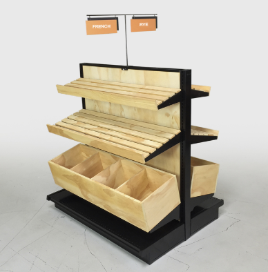 Wood Bakery Display Shelving Double Sided Gondola Island Kit 54h Bakery Display Retail Shelving Wood Store