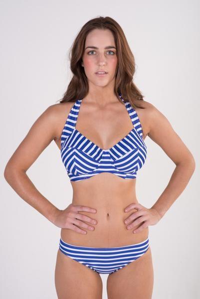 b63001de30e22 Lilly   Lime blue and white striped underwire halter bikini top and basic  brief bikini bottoms 30F - 38HH  frontroom