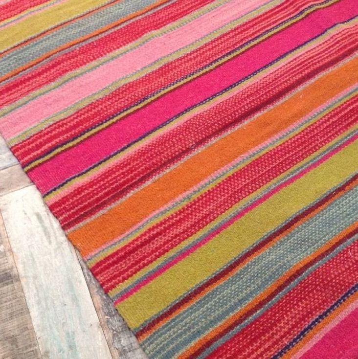 Lovely Bright Chunky Pink Green Orange Stripe Wool Rug