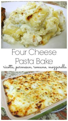 Four Cheese Pasta Bake - amazing side dish! Packed full of ricotta, parmesan, romano and mozzarella cheese!