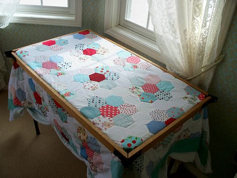 Honeycomb Quilt In Quilting Frame