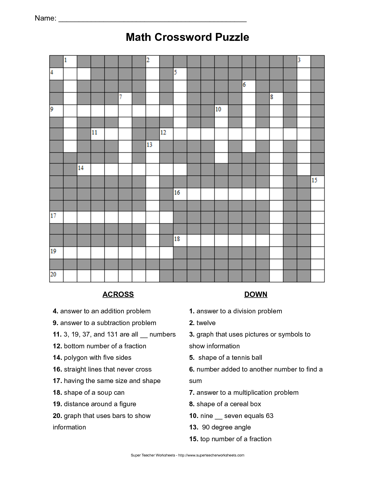 Math Crossword Puzzle Worksheets Versaldobip – Math Puzzles Worksheet