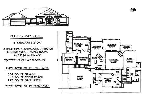 Best One Story House Plans | Bedroom 1 Story - 4 Bathrooms, 1 Family ...