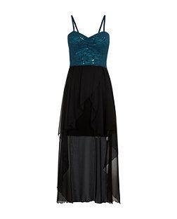 Cameo Rose Blue Sequin Lace Sweetheart Neck Dip Hem Dress £22.99 - Comes in Blue, Red and White http://www.newlook.com/shop/womens/dresses/cameo-rose-blue-sequin-lace-sweetheart-neck-dip-hem-dress-_316550046