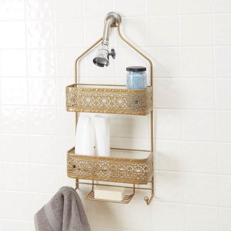 Filigree 2 shelf Shower Caddy With Soap Holder, Gold http://www ...