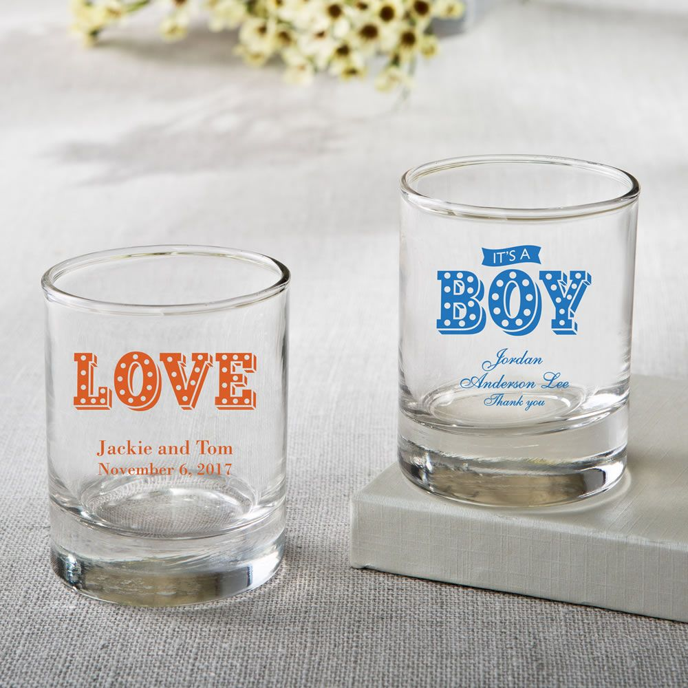 Personalized Shot Glass or Votive – Marquee Design | Shot glasses ...