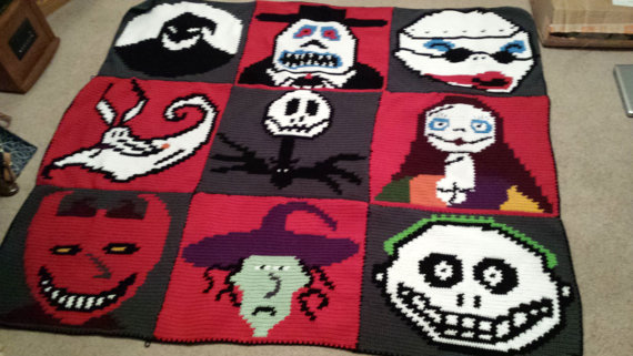 Nightmare Before Christmas Crochet Blanket.Nightmare Before Christmas Crochet Graph Graphgan Jack