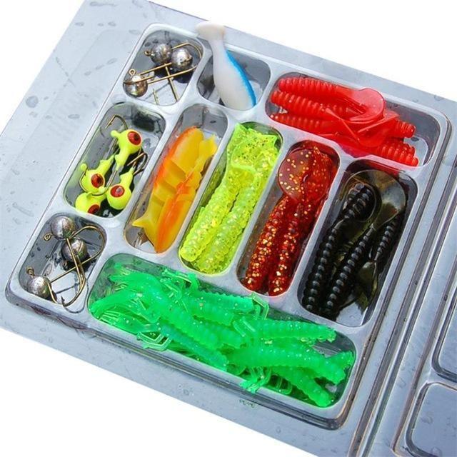 fishing lure spoon 35Pcs Soft Worm Jigging lsoft Lures china Random Color EA14