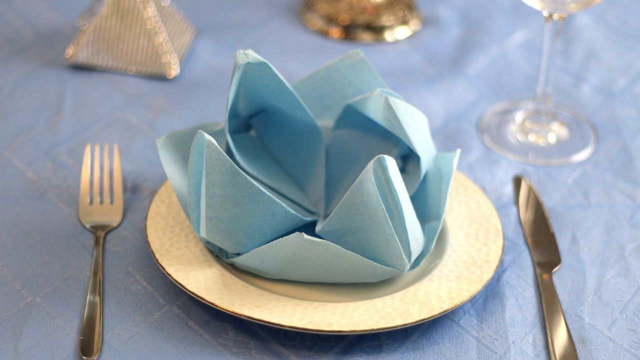 Water Lily Flower Napkin Folding Instruction Table Decoration