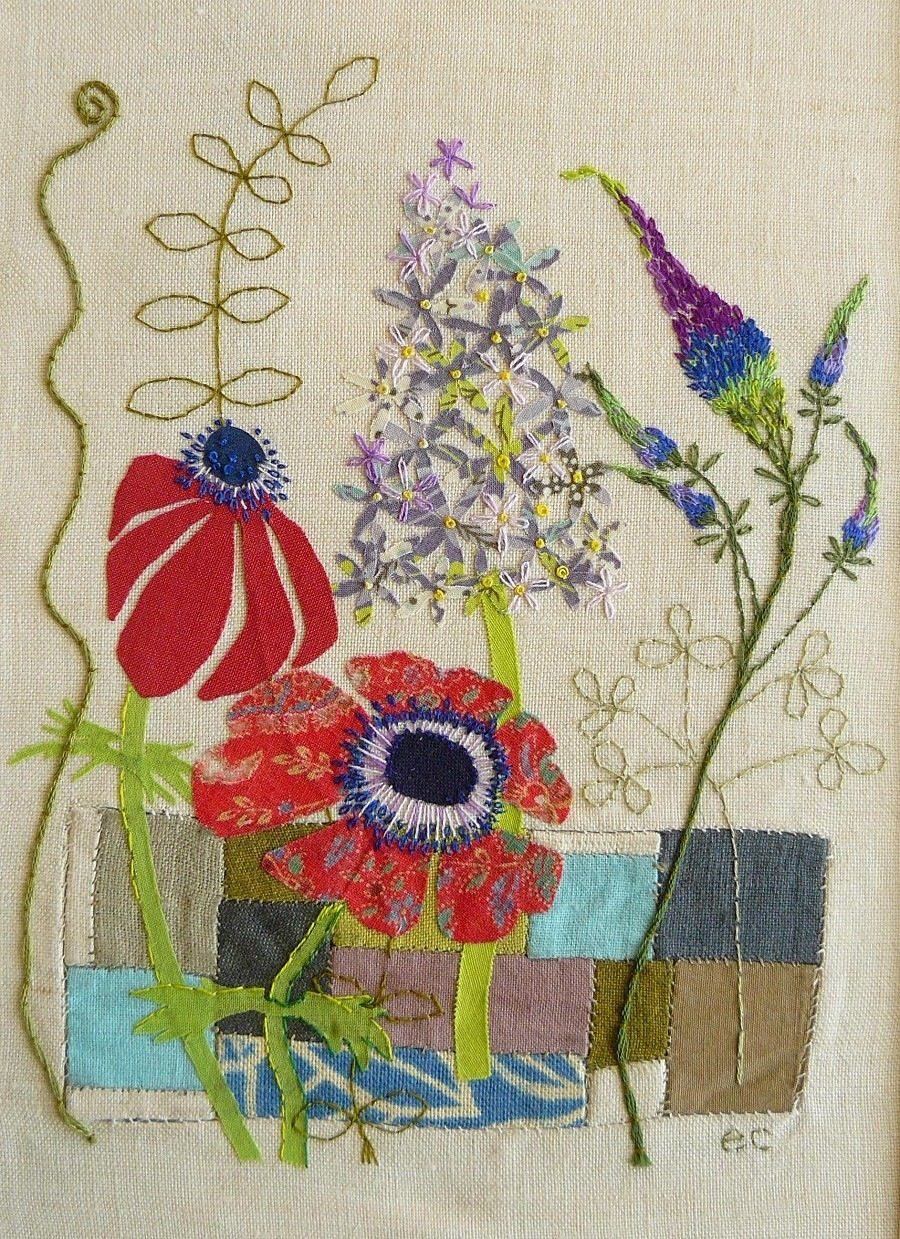 Embroidered meadow flowers with applique and back stitch
