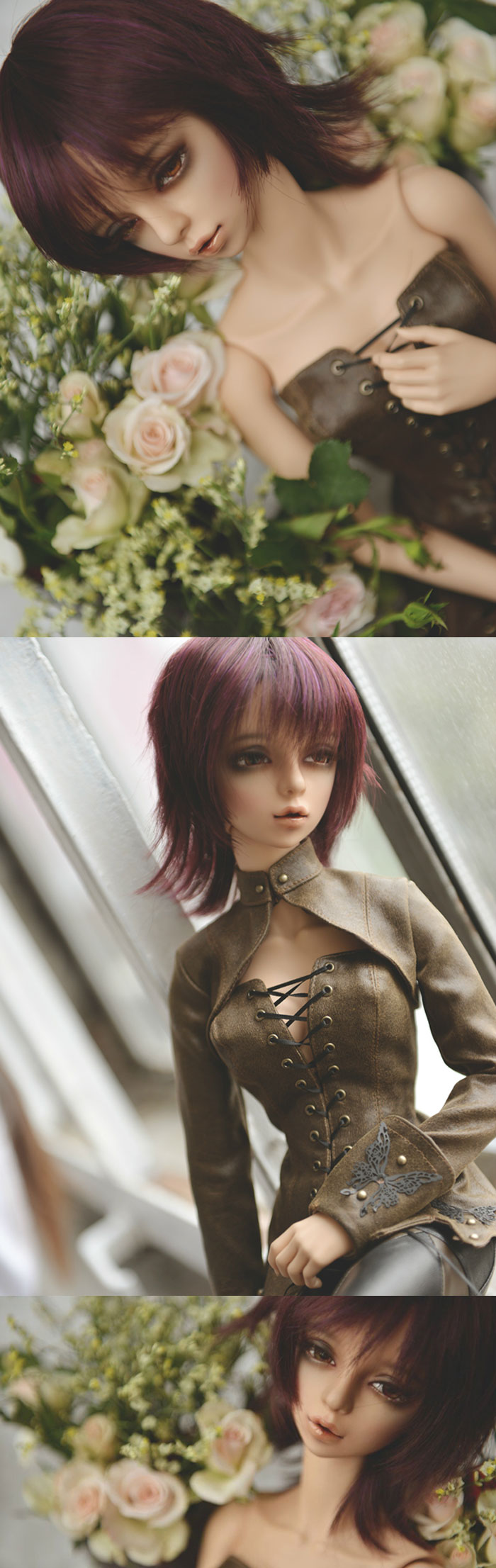 BJD Boy/Girl Wigs Dark Purple Short Hair for SD Size Ball-jointed Doll_SD 8-9in_SD 8-9in_WIG_Ball Jointed Dolls (BJD) company-Legenddoll
