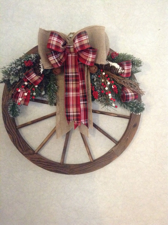 Wagon wheel Christmas wreath, winter wreath, farmhouse ...
