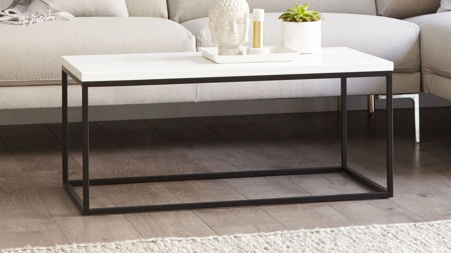 Acute Large Matt White And Black Coffee Table Enson