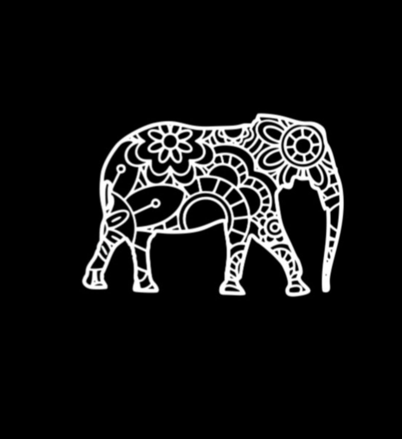 Elephant Zentangle Vinyl Sticker Vinyl Sticker Water Bottle Stickers Vinyl [ 1457 x 1336 Pixel ]