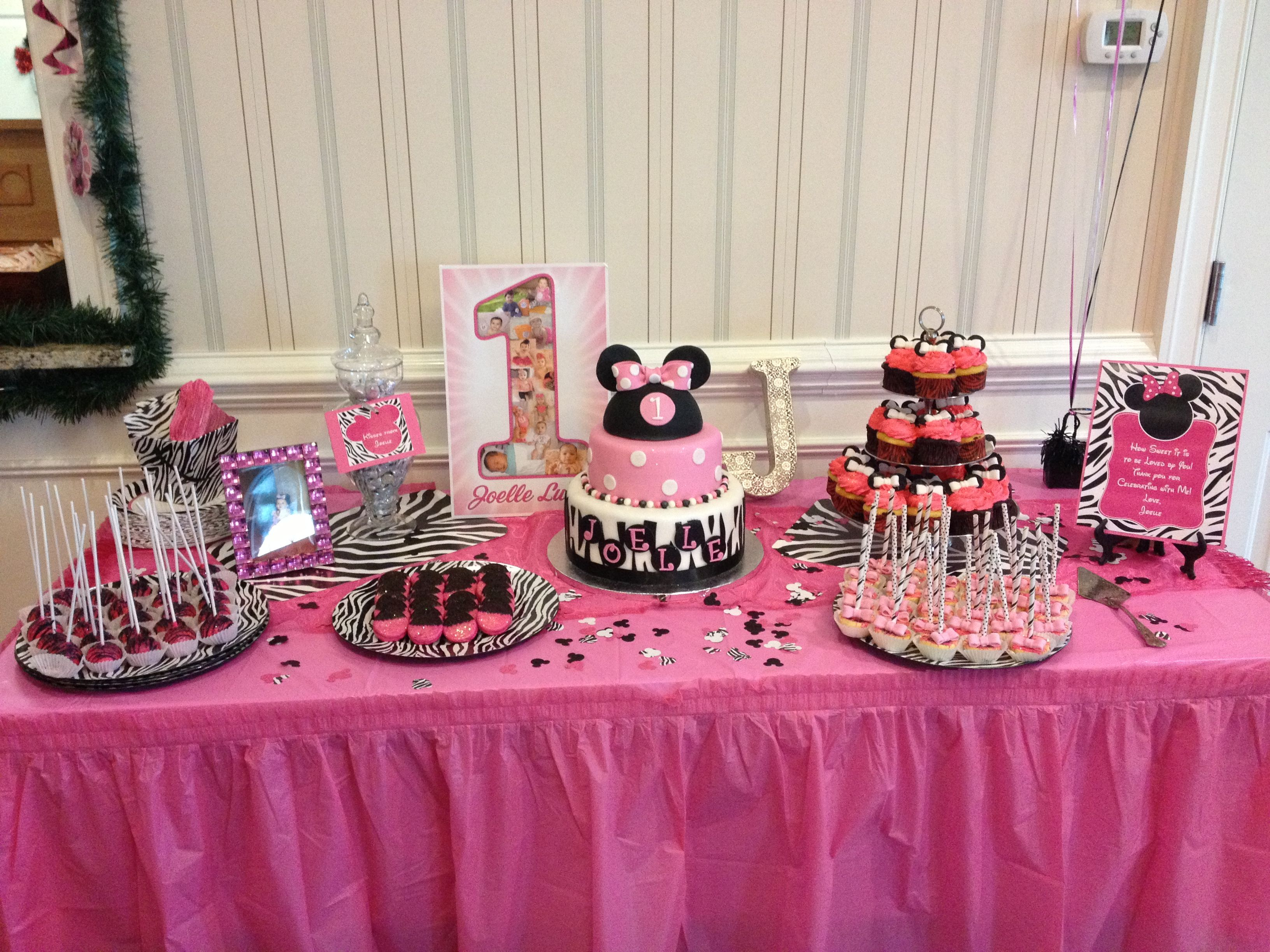 Yummy Dessert Table For My Baby Girls 1st Birthday Party Minnie Mouse Zebra Theme Desserts Provided By Conti S Pastry Shop