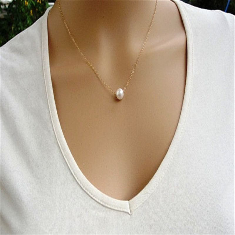 1pc Fashion Simple Elegant Faux pearl long chain necklace ...