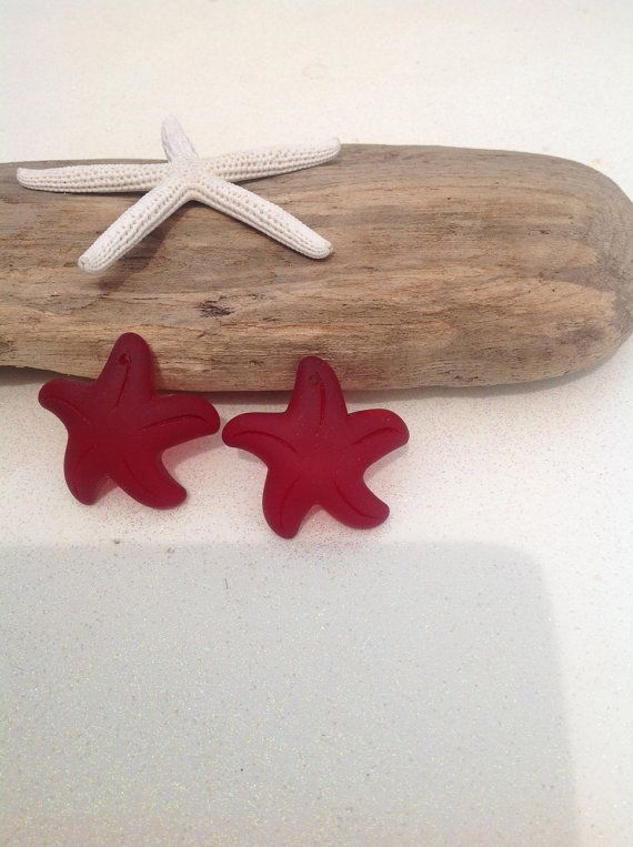 SeaGlass-Beach Glass- sea glass, 2-Red, 32 mm,cultured sea glass starfish, starfish, jewelry supplies, sea glass jewelry, supplies, beading