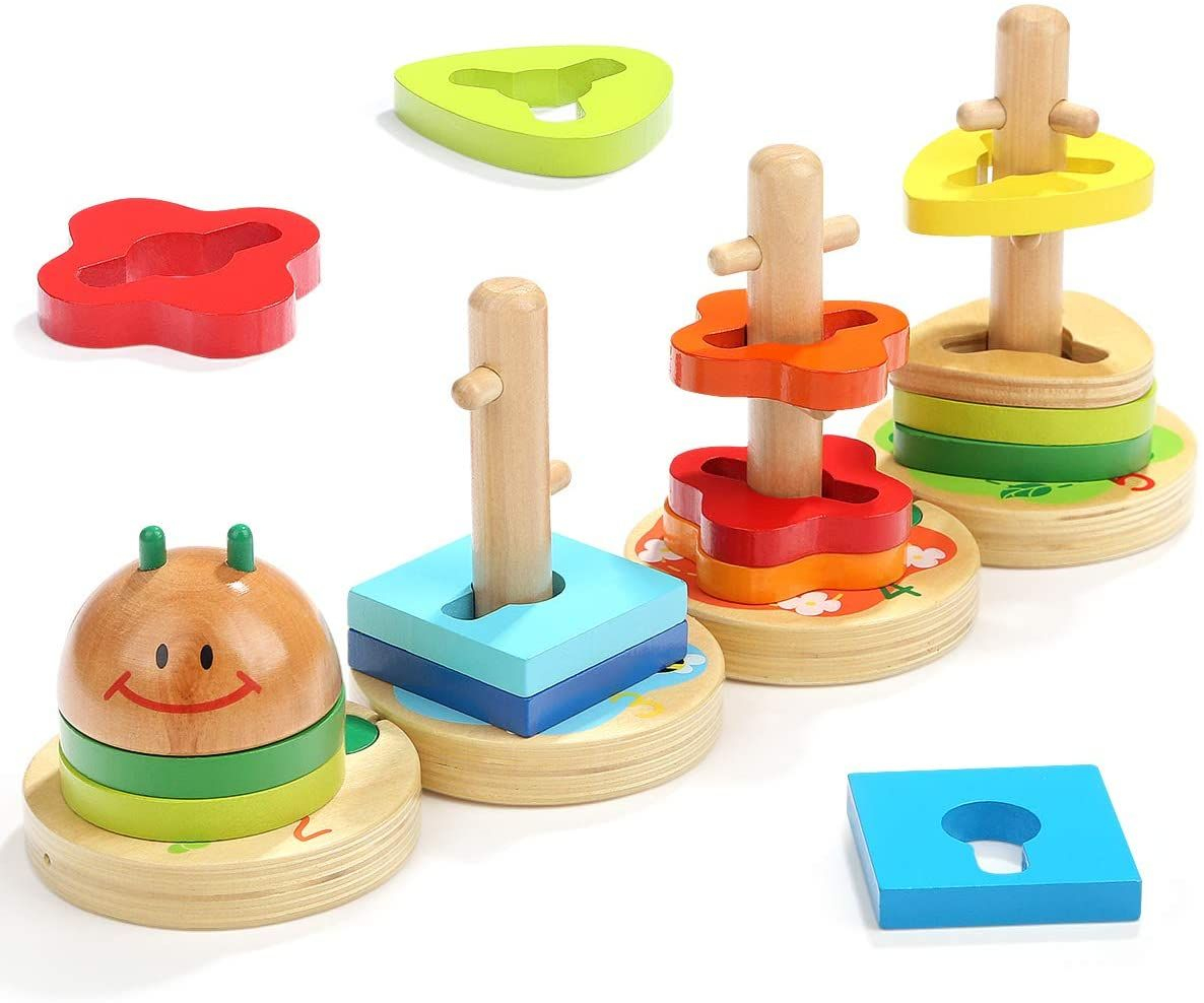 Square Stacking Toy Montessori Wooden Learning Toy Fine Motor skills
