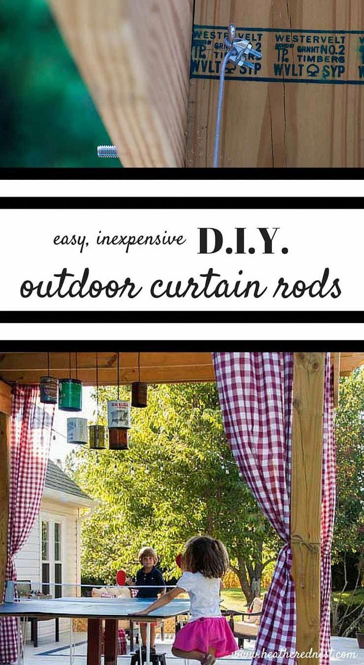 AWESOME IDEA!! DIY curtain rods for your pergola/outdoor entertaining area!! Mad... -