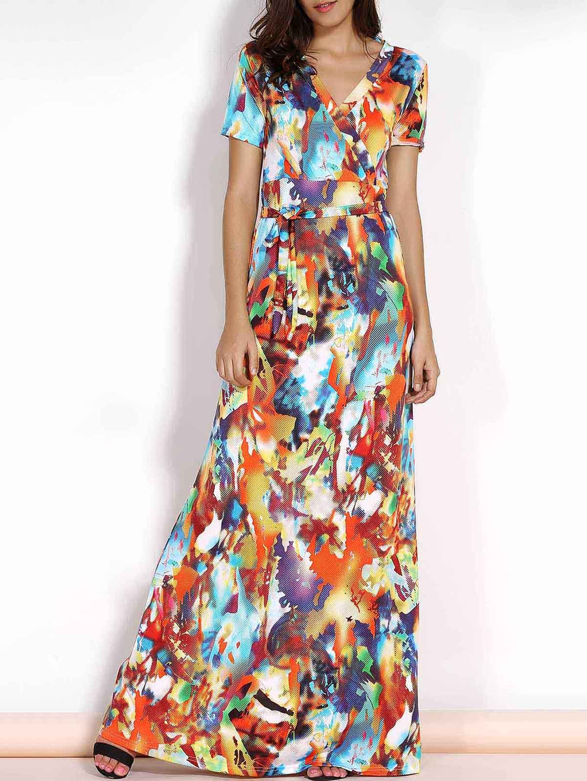 Multicolored print vneck short sleeve plus size maxi dress maxi