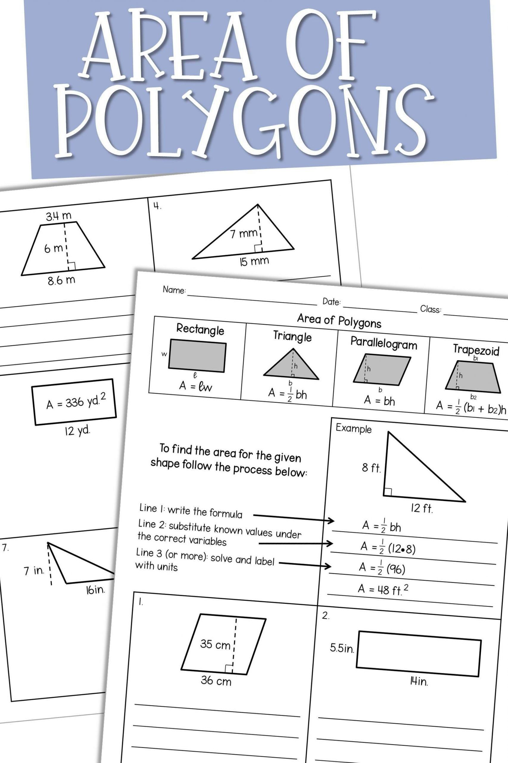 Introduction To Triangles Worksheet Area Of Polygons In