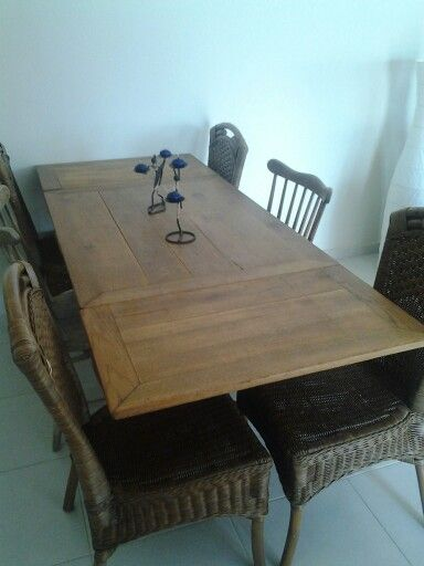 """My grandfathers old diningtable. Sanded and varnished. There is my """"new"""" diningtable. ♥♥"""