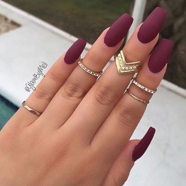 Nail Polish Burgundy Accessories Dark Matte Nails Ring