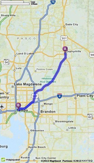 Sun City Florida Map : florida, Driving, Directions, Zephyrhills,, Florida, Tampa,, 33605, MapQuest, Florida,, Center