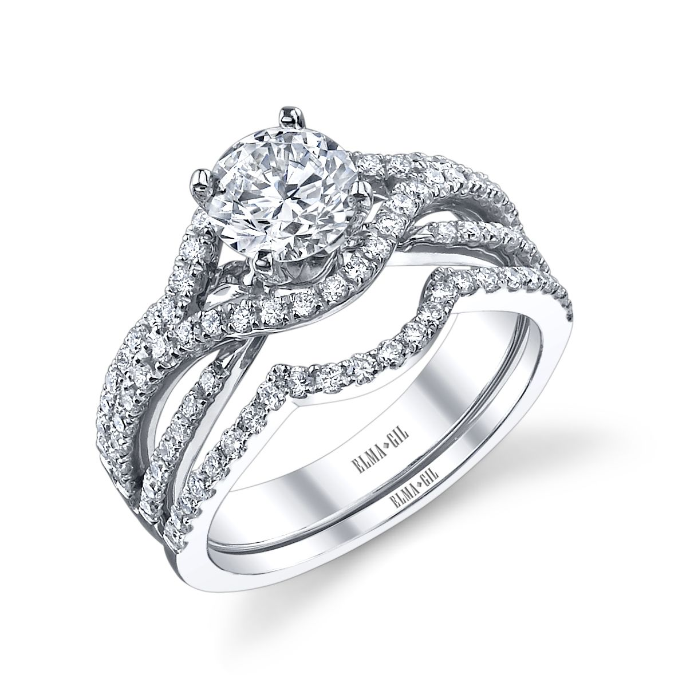 Elma Gil 18k white gold and diamond braided design