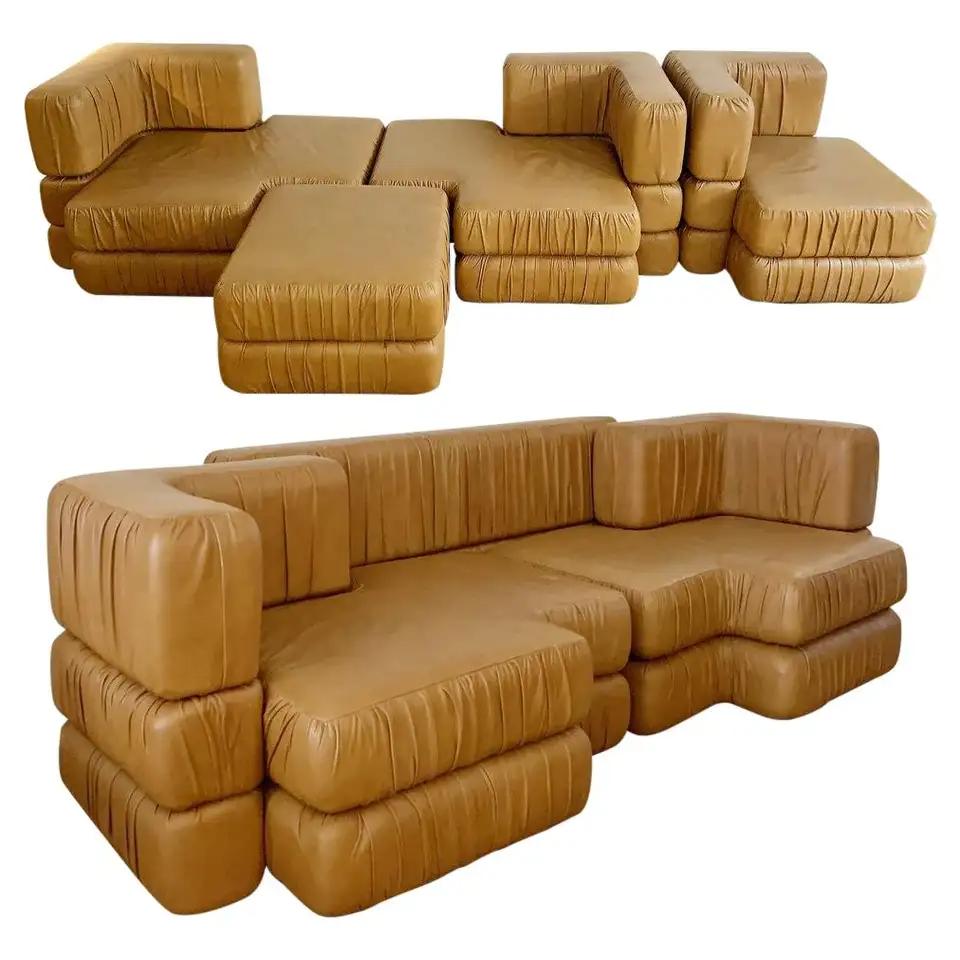 1stdibs Leather Modular Cognac Mid-Century Modern Italian Sofa