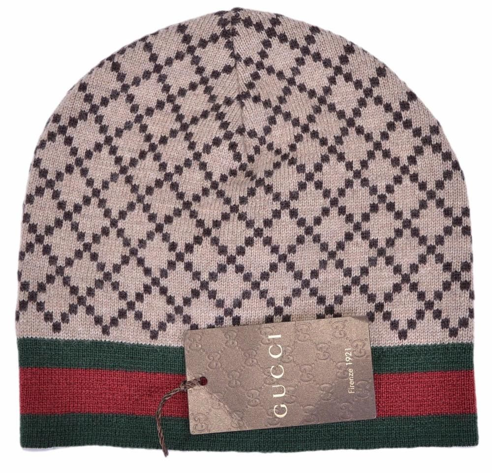 f742e3b5d5c NEW Gucci Men s 295287 Brown Diamante Red Green Stripe Wool Beanie Hat Cap  M  Gucci  Beanie