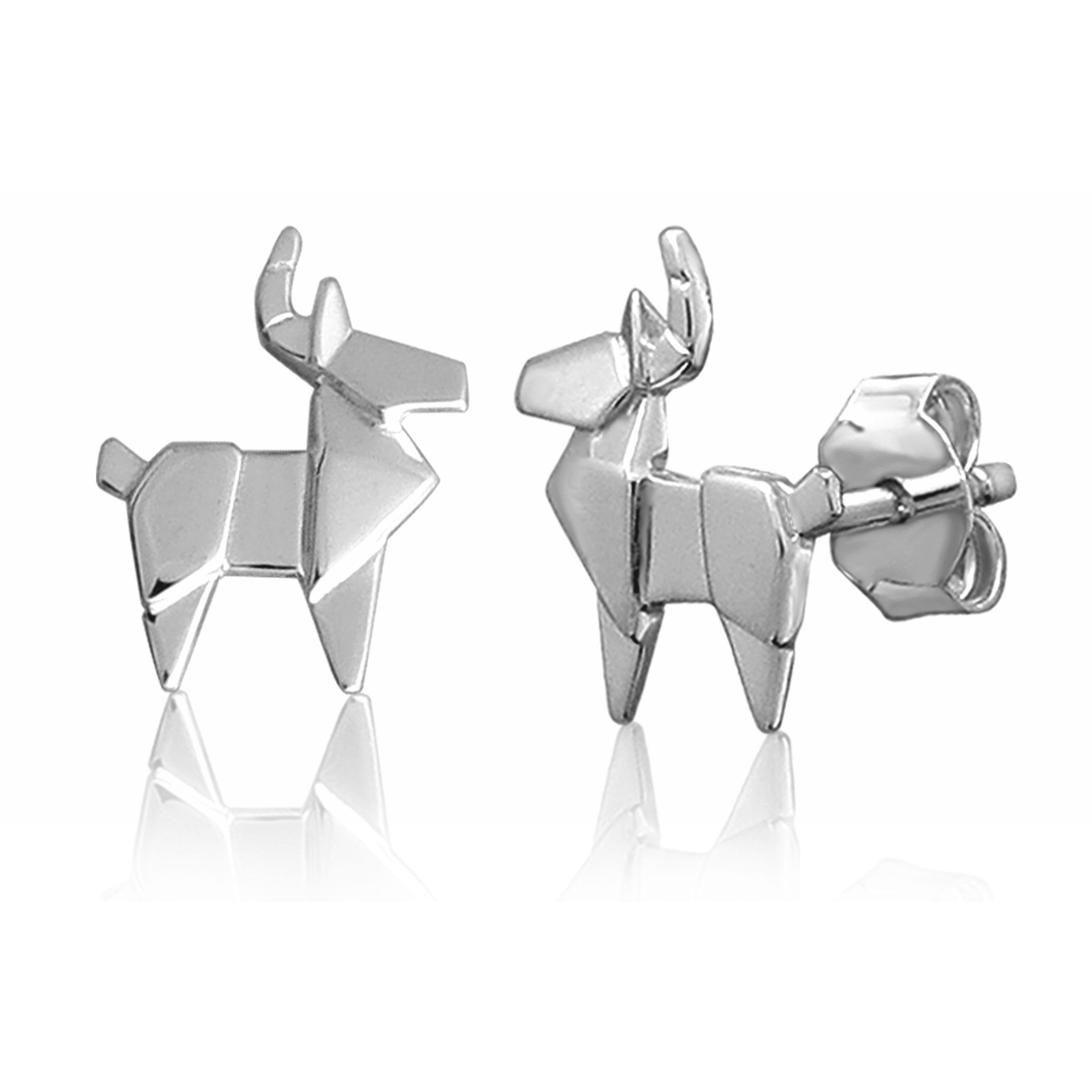 Deer origami stud earrings Stud earrings, Animal jewelry