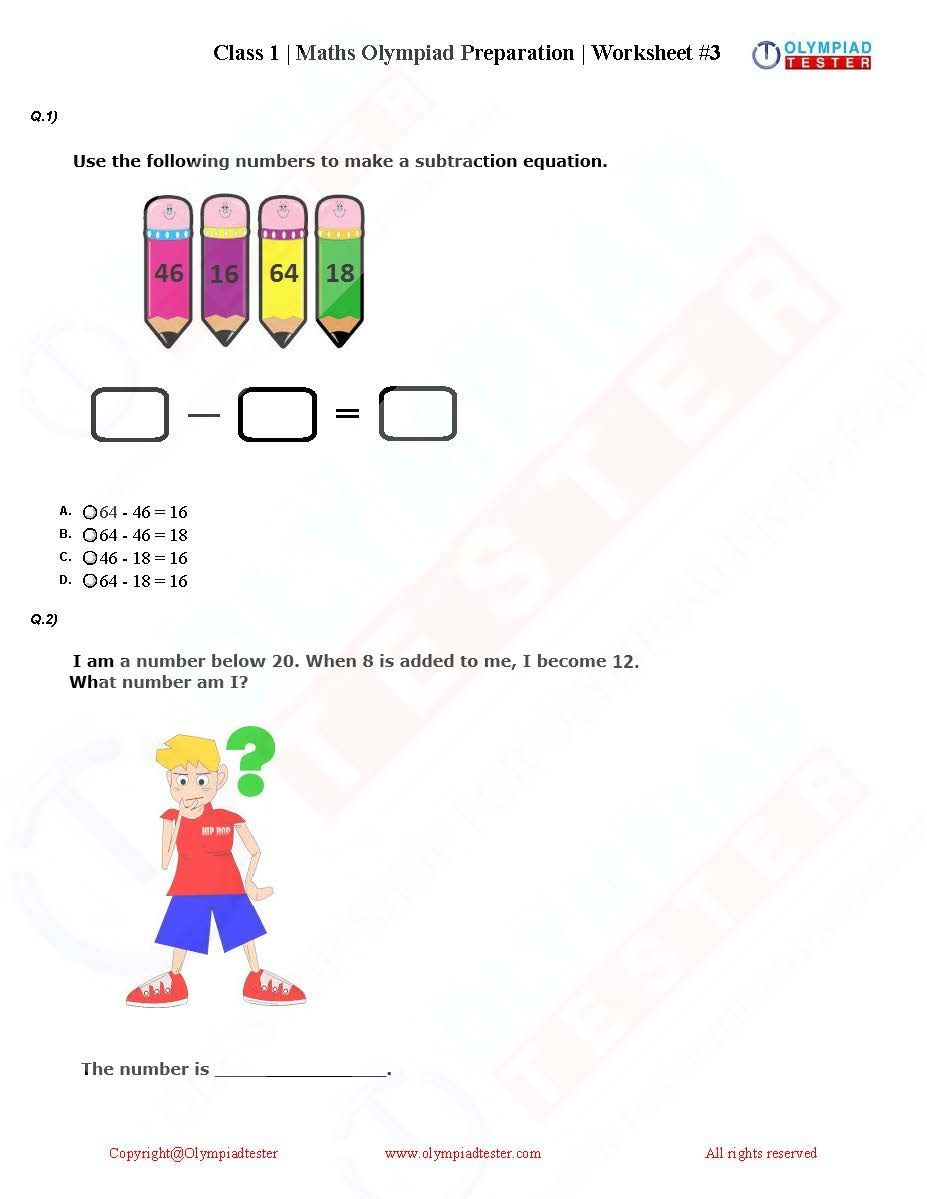 Download Class 1 Maths Olympiad PDF worksheets to prepare