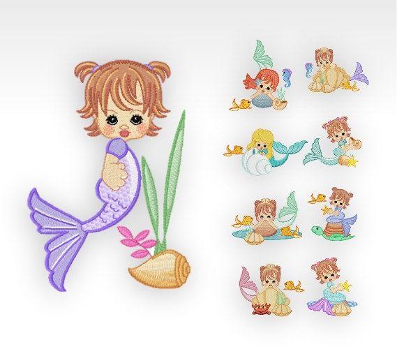 Mermaid - Machine Embroidery Designs - Precious Mermaids - SET of 9