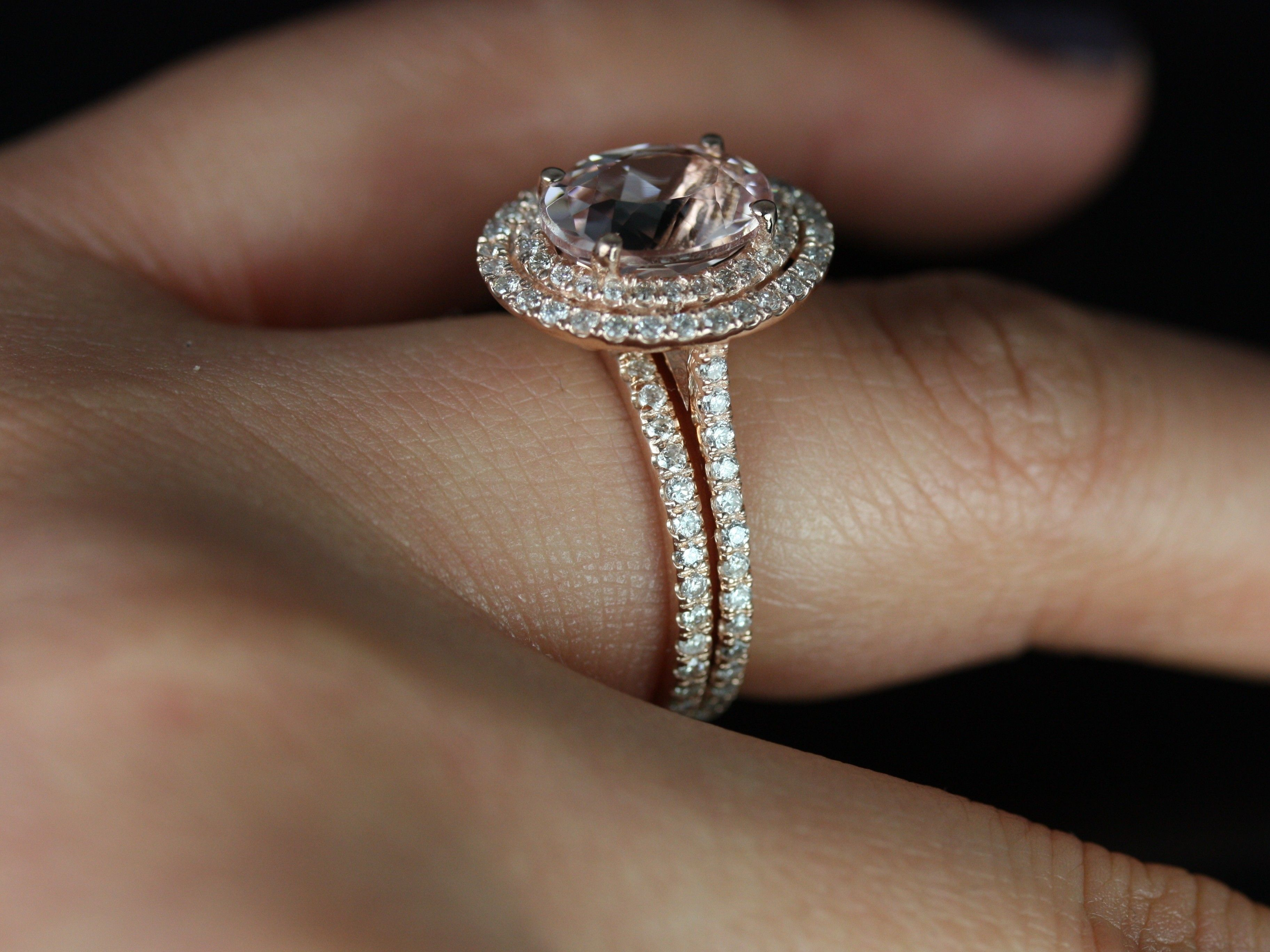 Double Halo Rose Gold Engagement Rings In Finger Pics 49