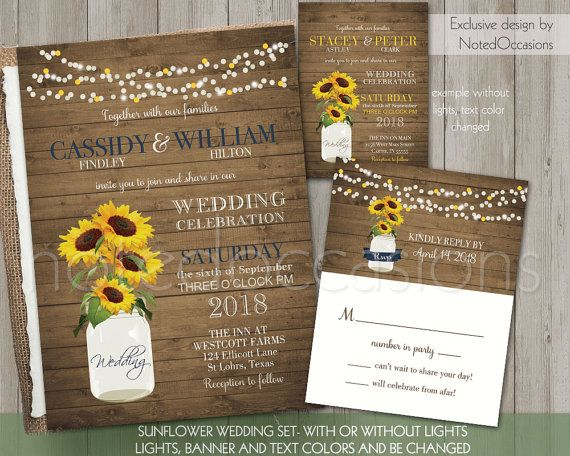 I Want To Design My Own Wedding Invitations: Sunflower Wedding Invitation Rustic Wedding Set By