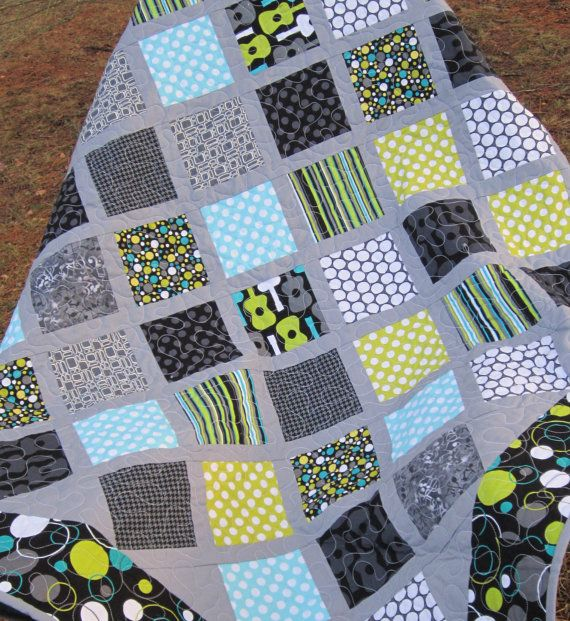 Modern and Funky Quilt Baby or Lap Size by ModernMaterialGirl, $152.00