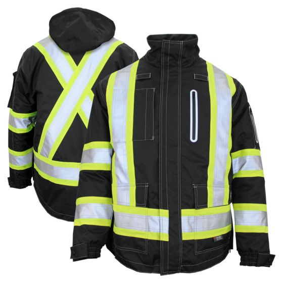 Work King S187 Class 1 Hivis 300d Ripstop 4 In 1 Jacket In 2020 Ripstop Jackets All Black Looks