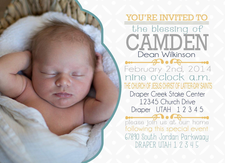 Lds Invitation Baby Blessing Custom Boy Lds By Nikinoelprintables 9 00 Baby Blessing Baby Boy Names Lds Invitation