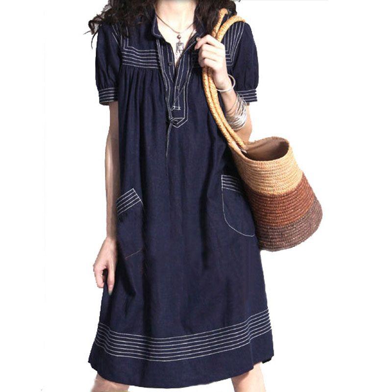 new 2014 fashion brand plus size women clothing jeans dress loose summer denim  vintage plus size casual dress 2xl b403a54cc7de