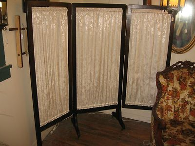 Antique Room Divider 3 Panel Folding Changing Screen Footed Wheels New Fabric Ebay Room Divider Metal Room Divider Fabric Room Dividers